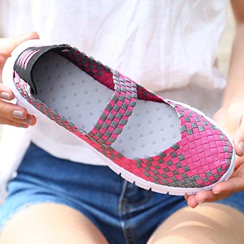 Appartements Léger La Baskets Tissés Glissent Élastiques Les Main Sur De Vilocy Femmes Faits Chaussures Les Loafer Mode Rouge Rose À Loisirs 6xUvpp
