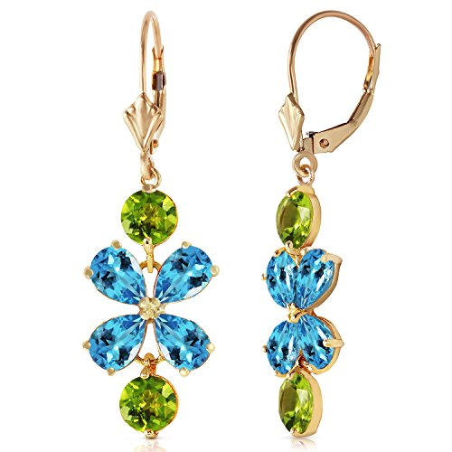 - 14k Yellow Gold Peridot and Blue Topaz Flower Dangle Earrings