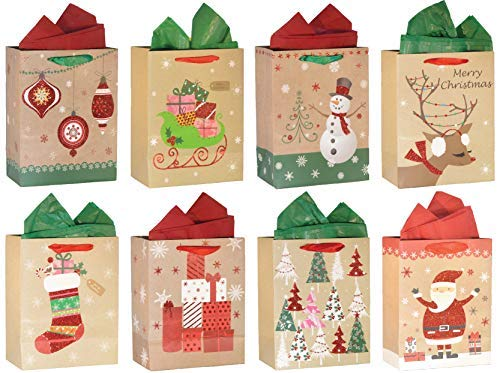 ViiGift Premium Medium Christmas Gift Bags with Glitter and Tissue Papers, 8 Pack for $<!--$14.89-->
