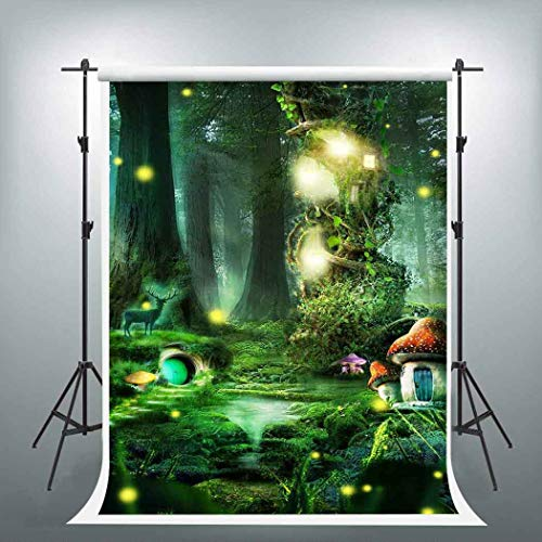 EARVO 5x7ft Fairytale Forest Backdrop Mushroom House Fireflies Photography Background Children Adventure Themed Party Cotton Backdrop Studio Video Props EALS499]()