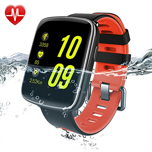 Willful Smart Watch for iPhone & Android Phones, SW018 Bluetooth Smartwatch Fitness Tracker Heart Rate Monitor Watch,Sleep Monitor Pedometer Watch for Men Women Red (IP68 Waterproof,3M Diving)