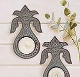 modern fireplace design ideas  Decorations Set of 2 Red Metal Tealight Candle Votive Holders Home Decor Accessory Kalash Diya Housewarming Gift Idea (Design 2)