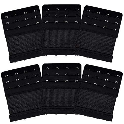 AKRover 6 Pieces Women's Soft Comfortable Elastic Bra Extenders Bra Extension Strap 4 Hook 3 Row Lady's Bra Extender Bra Band (Black) ()