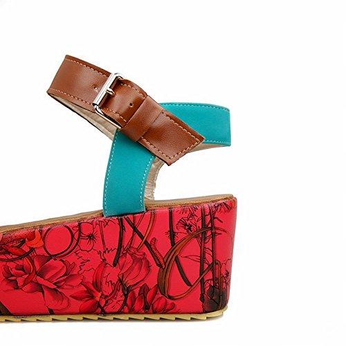 Carol Sko Chic Womens Spenne Open-toe Blomstermønster Diverse Farger Plattform Sandaler Blå
