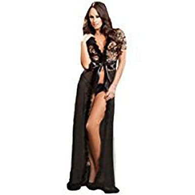 9526a173ba2 Image Unavailable. Image not available for. Colour  Ladies Sexy Plus Size  Black Fur Trim Glam Night Robe.
