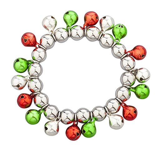 Lux Accessories Silvertone Multi Color Christmas Jingle Bells Stretch Bracelet