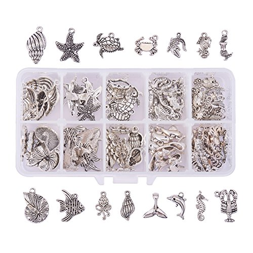 Tibetan Silver Seahorse Charms - PH PandaHall 90PCS 15 Style Ocean Fish Seashell Marine Animal Sea Creatures Charms Pendants Antique Silver Tibetan Alloy Sea Charms DIY Jewelry Making