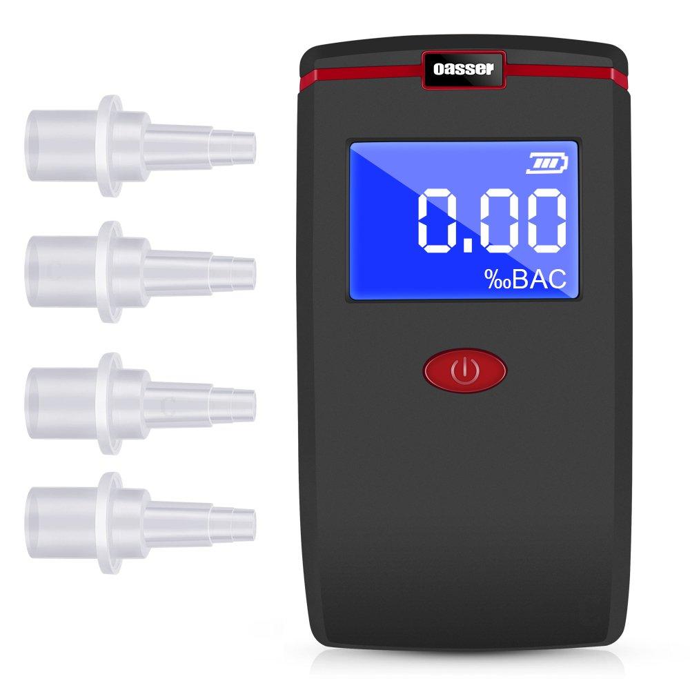 Oasser Breathalyzer Alcohol Tester Digital LCD Breath Tester Semi-Conductor Sensor with 4 Mouthpieces and 3 AAA Batteries T1