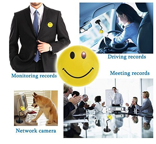 8GB Mini Hidden Camera Wearable Smile Face Badge Sd Card DVR Camcorder Video Recorder [並行輸入品] B01KBR4Z5M