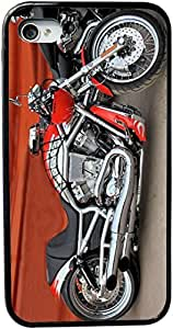 Rikki KnightTM Retro Harley Davidson Motorcycle Design Design iPhone 4 & 4s Black Case Cover (Black Rubber with bumper protection) for Apple iPhone 4 & 4s