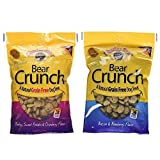 Charlee Bear Grain Free Bear Crunch Dog Treats 2 Flavor Variety Bundle: (1) Bacon & Blueberry Flavor and (1) Turkey, Sweet Potato & Cranberry Flavor, 8 Ounces Each