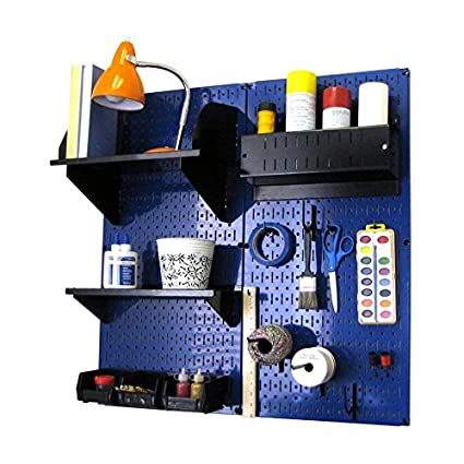 Wall Control 30-CC-200 BUB Hobby Craft Pegboard Organizer Storage Kit with Blue Pegboard and Black Accessories