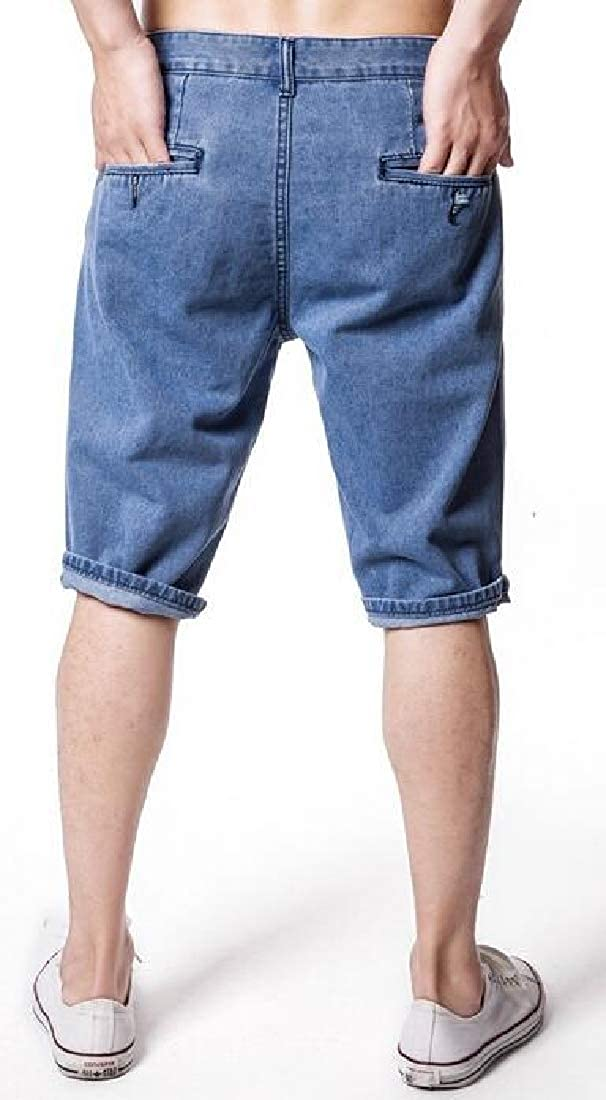 WAWAYA Mens Summer Roll-Up Solid Color Straight Leg with Pockets Denim Shorts Jeans