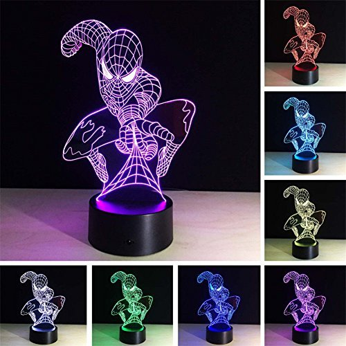 3D Optical illusion Night Lamp Light USB Cable Smart Touch Button Desk Table Lights 7 Color Changing Bedroom Table Lamp Home Decoration Kids Gift - Spider Night Light Man