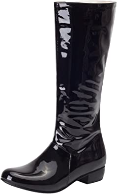 Shiny Faux Leather Low Heel Tall Boots