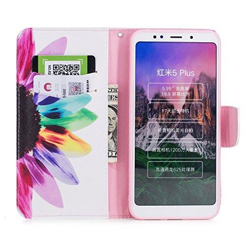 Funda Xiaomi Redmi 5 Plus, CaseLover Libro Flip PU Piel Carcasa para Redmi 5 Plus Smartphone Suave Cuero Folio Tapa y Cartera con TPU Silicona Interna Cierre Magnético Función de Soporte Billetera y T Girasol