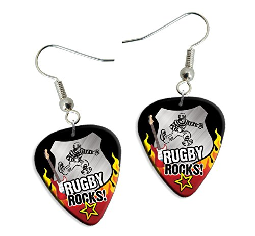 (Rugby Rocks Guitar Pick Earrings Plectrums (R1))