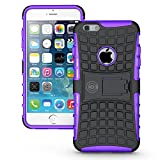 iPhone 6 Plus Case, iPhone 6/6S Plus Armor Cases (6+) Tough Rugged Shockproof Armorbox Dual Layer Hybrid Hard/Soft Slim Protective Case (5.5 inch) by Cable and Case – Purple Armor Case