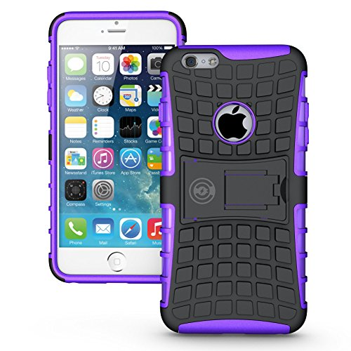 Cable And Case iPhone 6 Plus Case, iPhone 6/6S Plus Armor Cases (6+) Tough Rugged Shockproof Armorbox Dual Layer Hybrid Hard/Soft Slim Protective Case (5.5 inch) Purple Armor Case