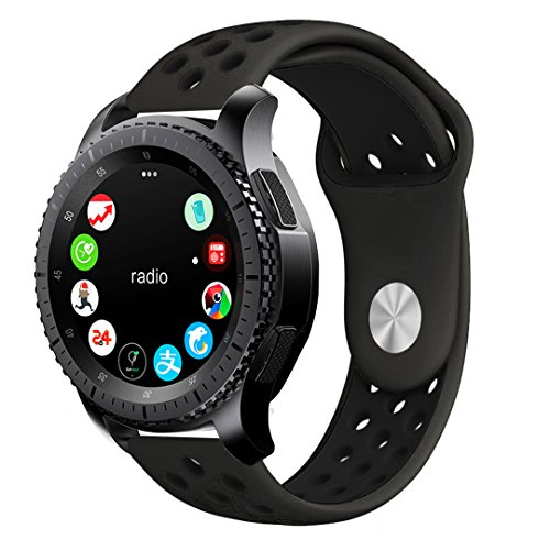 Price comparison product image Gear S3 Band, KADES Soft Silicone Band Replacement Strap for Gear S3 Frontier and Gear s3 Classic (Large,Coffee/Black)