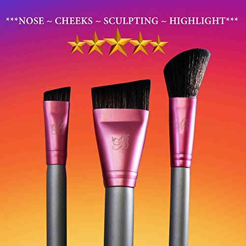 Contour Brush & Nose Contour Brush & Blush Brush Star Beauty Premium Quality Contour Brushes for Precision Definition BEST SELLER ~ Nose Sculpting & Contouring ~ Dramatic Cheekbones ~ Angled Blending (Defining Eye Duo Liner Shadow)