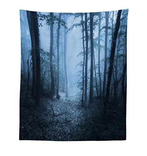 Lunarable Forest Tapestry, Mysterious Forest Foggy Spooky Atmosphere Wet Humid Fantasy Nature Scene, Fabric Wall Hanging Decor for Bedroom Living Room Dorm, 23 W X 28 L inches, Blue Hunter Green -