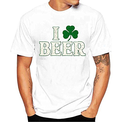 MILIMIEYIK Blouse Irish Shamrock Boobs St.Patrick's T-Shirt Mens Shirts Green Party St Short Sleeve Round Neck T-Shirts, Top ()