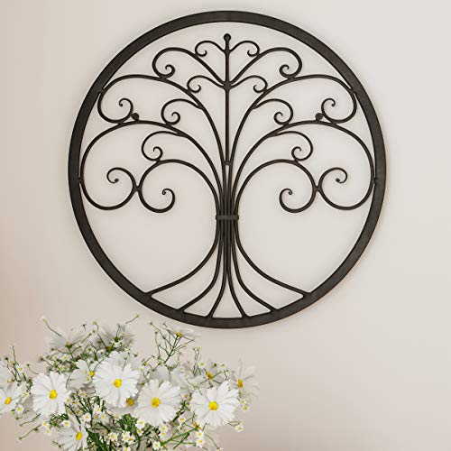 - Home Lavish Decor - Iron Metal Tree of Life Modern Wall Sculpture Art Round for Living Room, Bedroom or Kitchen (Brown)