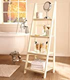 Antiqued White Cream Ladder Shelf Display Shabby Chic Beach Cottage Home Storage Shelving Unit
