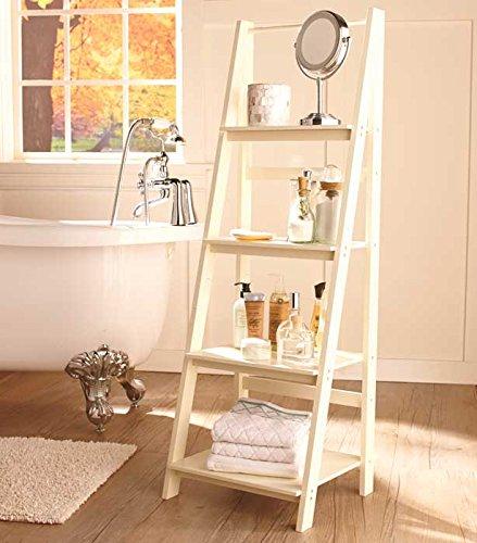 Antiqued White Cream Ladder Shelf Display Shabby Chic Beach Cottage Home Storage Shelving Unit (Cream Ladder Shelf)