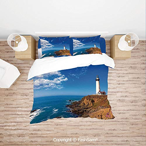 FashSam Duvet Cover 4 Pcs Comforter Cover Set California Pigeon Point Lighthouse in Cabrillo HWY Coastal Highway State Route 1 for Boys Grils Kids(Queen) ()