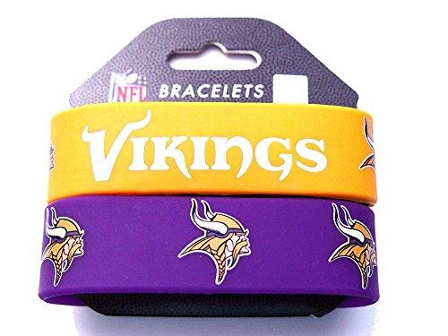 NFL Minnesota Vikings Silicone Rubber Bracelet, 2-pack (Licensed Wristband Bracelet)