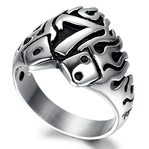 Stainless Steel Ring for Men, Letters'7' Ring Gothic Black Band Silver Band 20*23MM Size T 1/2 Epinki
