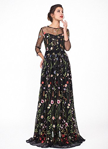 - YSMei Women's Summer Embroidery Floral Long Prom Dresses with 2/3 Sleeves Scoop Evening Party Gown Black 16