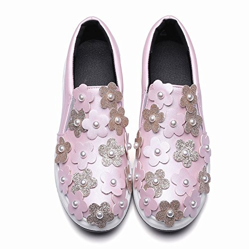 Kinderwagen Dames Kralen Pailletten Applique Mode Casual Loafers Schoenen Roze