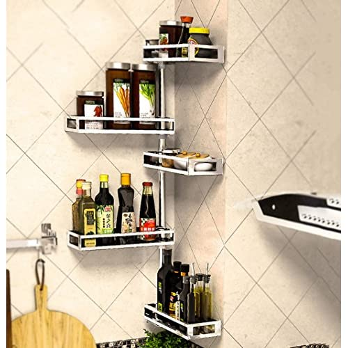 Discount Kitchen shelf 304 stainless steel corner rotating spice rack Wall-mounted kitchen pendant Adjustable (Color : D) for sale