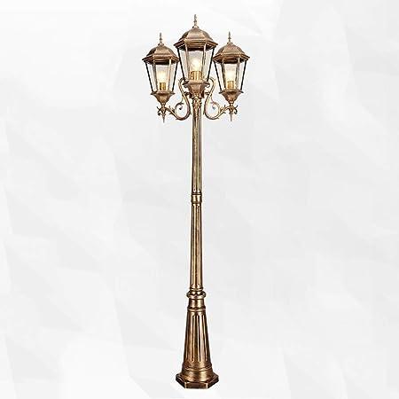 Meidn 3 Jefes Paisaje Luz comunitario Exterior Gruesa Luces Europeas Comunidad Antiguo Lumination Externa LED de Alta Polo Decoración Patio Farola (tamaño : 3.05m): Amazon.es: Hogar