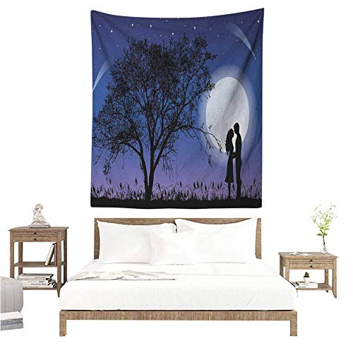 Night Decorative Tapestry Romantic Composition with Full Moon Sky Tree Man and Woman in Love Valentines Living Room Background Decorative Painting 70W x 84L INCH Black Blue White