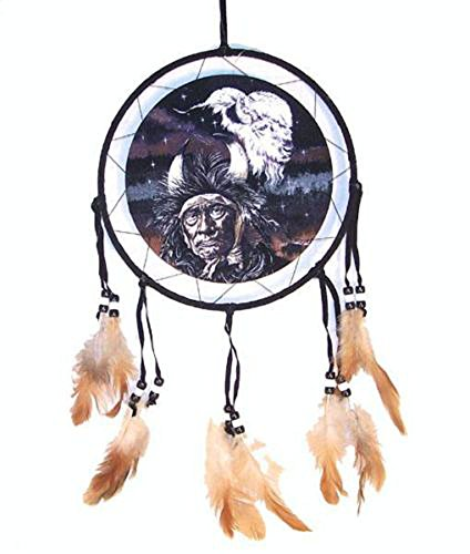 Deluxe 18 in Indian Medicine MAN White Buffalo Dreamcatcher Medallion with Feather and (Bead Dreamcatcher)