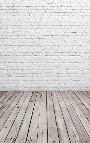 HUAYI 4x6 White Brick Wall with Gray Wooden Floor Photography Backdrop Vinyl Background for Pictures D-2504