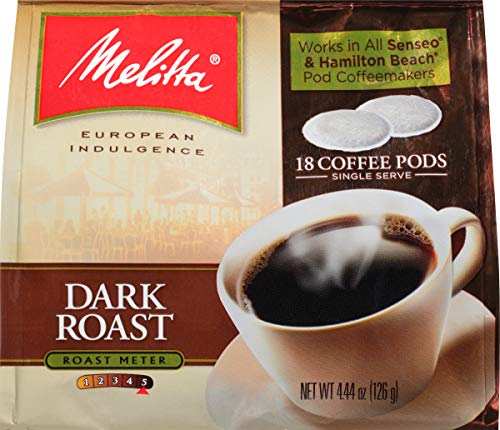 Melitta Coffee Pods for Senseo & Hamilton Beach Pod Brewers, Dark Roast, 18 Count Bag (Pack of 6)