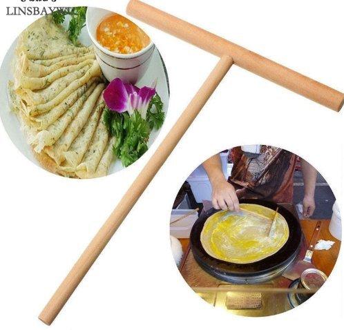 FSH-2pcs New Kitchen Tools Wooden Spreader Stick Crepe Maker Pancake Batter