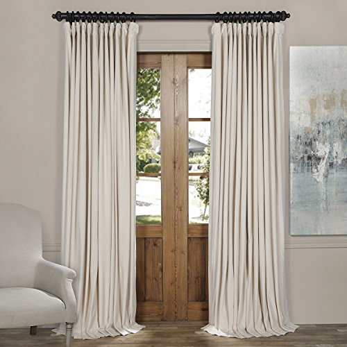 Half Price Drapes VPCH-VET1217-84 Signature Doublewide Blackout Velvet Curtain, Ivory, 100 X 84