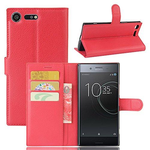 Lusee® PU Caso de cuero sintético Funda para Sony Xperia XZ Premium 5.5 Pulgada Cubierta con funda de silicona violeta rojo