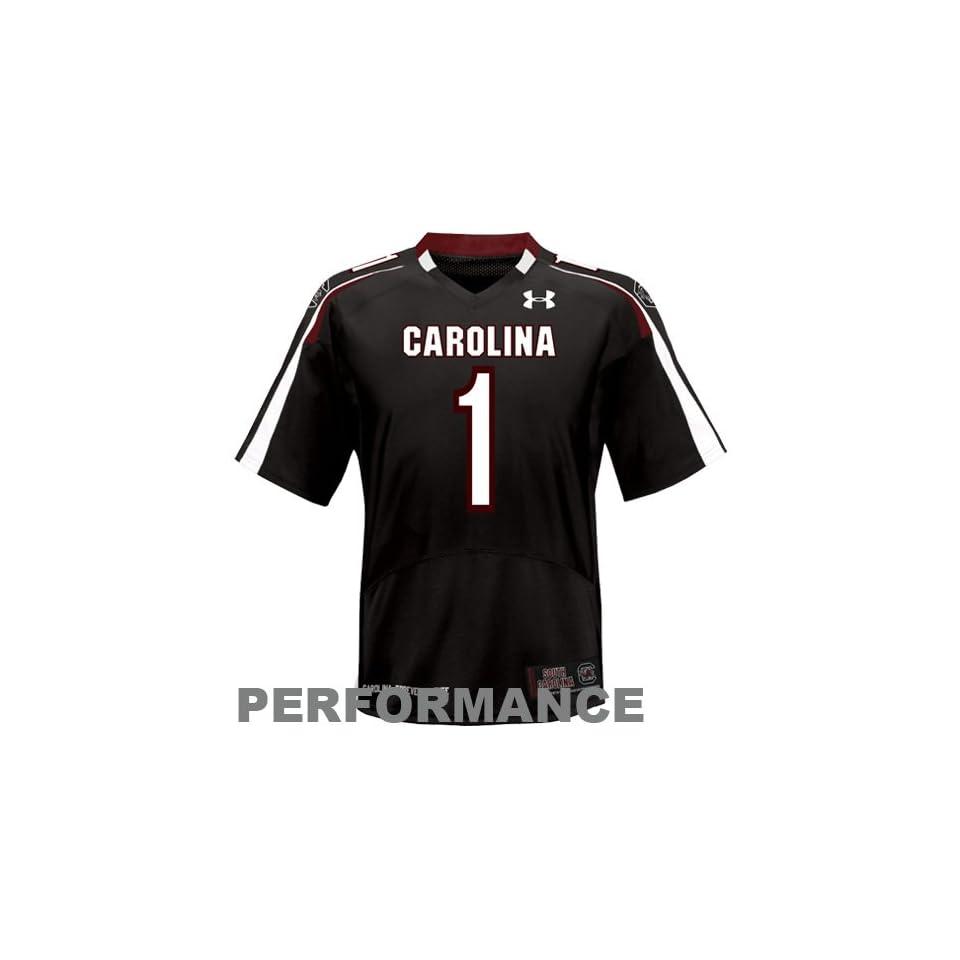 NCAA Under Armour South Carolina Gamecocks #1 Replica Football Jersey   Black (Large)