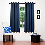 Awad Home Fashion 2 Piece Solid THERMAL BLACKOUT Grommet Window Panel Curtain Drapes 55″W x 63″L, Navy Blue For Sale