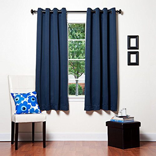 Awad Home Fashion 2 Piece Solid THERMAL BLACKOUT Grommet Window Panel Curtain Drapes 55″W x 63″L, Navy Blue