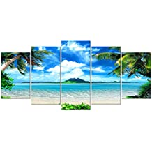 Pyradecor Modern 5 Piece Framed Giclee Canvas Prints Artwork Contemporary Landscape Blue Sea Beach Pictures Paintings on Canvas Wall Art for Living Room Home Decorations Extra Large