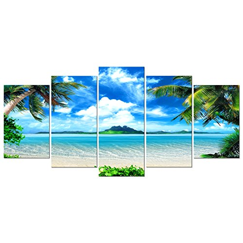 Pyradecor Modern 5 Panels Blue Sea Beach Pictures Paintings on Canvas Wall Art Stretched and Framed Contemporary Landscape Ocean Giclee Canvas Prints Artwork for Bedroom Home Decorations (Canvas Photo)
