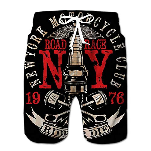 (Motorcycle Vintage Logo Emblem Drawstring Shorts Beach Baskestball Pants M)